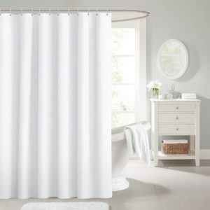 Bathroom SHOWER CURTAIN WITH HOOKS INCL. WHITE DOT