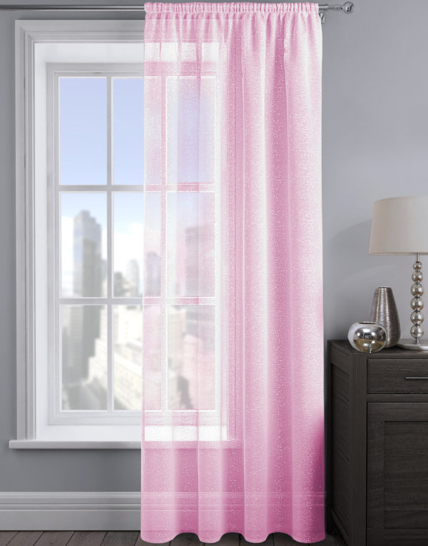 Curtains ALESSANDRIA SHIMMER VOILE BABY PINK