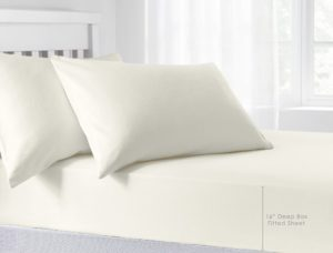 Bedding BRUSHED COTTON EXTRA DEEP FITTED SHEET CREAM