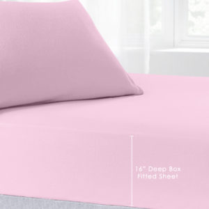 Bedding BRUSHED COTTON EXTRA DEEP FITTED SHEET PINK