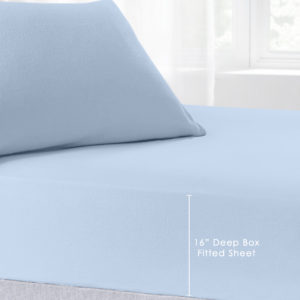Bedding BRUSHED COTTON EXTRA DEEP FITTED SHEET SKY