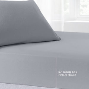 Bedding BRUSHED COTTON EXTRA DEEP FITTED SHEET GREY