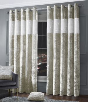 Curtains DIAMANTE CRUSHED VELVET RING TOP CURTAINS NATURAL