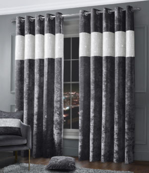 Curtains DIAMANTE CRUSHED VELVET RING TOP CURTAINS CHARCOAL