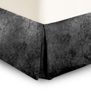 Bedding CRUSHED VELVET PLATFORM VALANCE CHARCOAL