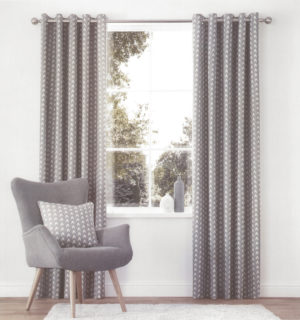 Curtains ROSCOE RING TOP CURTAINS GREY