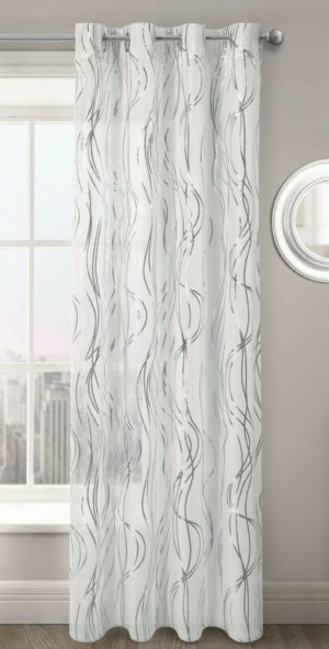Curtains SWIRLS RING TOP VOILE SILVER