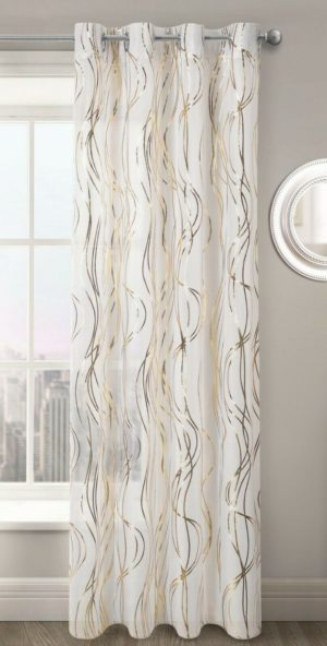 Curtains SWIRLS RING TOP VOILE GOLD