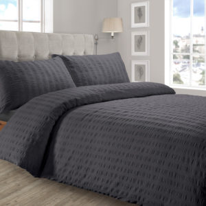 Bedding SEERSUCKER QUILT COVER SET CHARCOAL