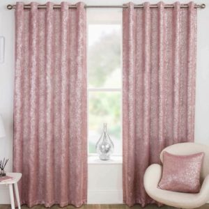 Blush and Grey HALO BLACKOUT THERMAL RING TOP CURTAINS PINK