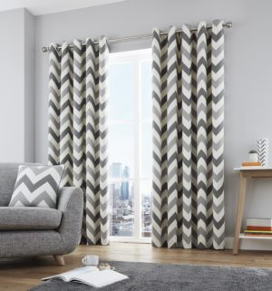 Curtains CHEVRON RING TOP CURTAINS GREY