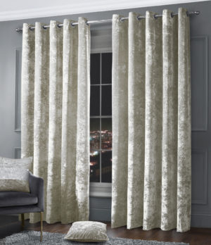 Curtains CRUSHED VELVET RING TOP CURTAINS NATURAL