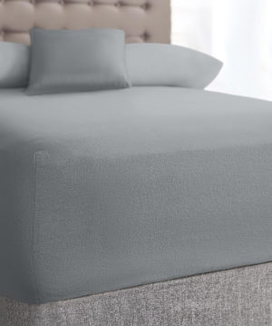 Bedding SHAWSDIRECT TERRY STRETCH FITTED SHEET GREY