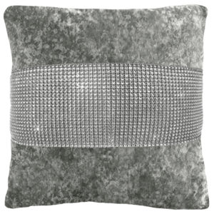 Cushion Covers DIAMANTE CRUSHED VELVET CUSHION COVER SILVER