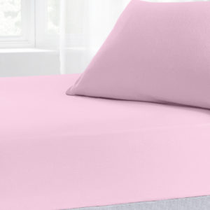 Bedding BRUSHED COTTON FITTED SHEET PINK
