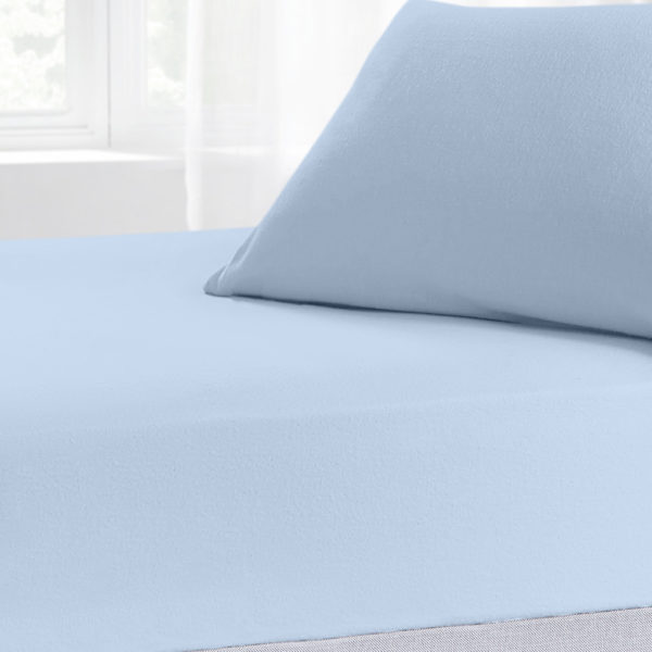 Bedding BRUSHED COTTON FITTED SHEET SKY