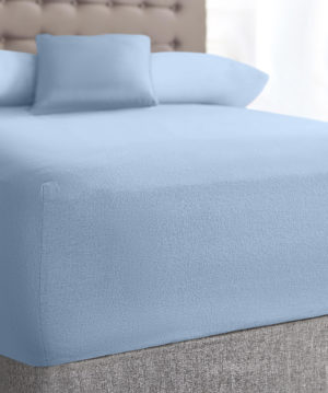 Bedding SHAWSDIRECT TERRY STRETCH FITTED SHEET BLUE