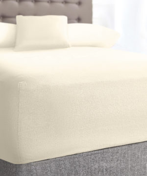 Bedding SHAWSDIRECT TERRY STRETCH FITTED SHEET CREAM
