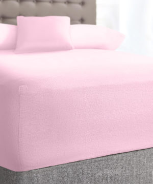 Bedding SHAWSDIRECT TERRY STRETCH FITTED SHEET PINK