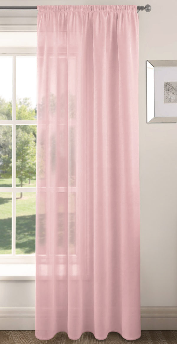 Curtains RIVA PLAIN VOILE PANEL BABY PINK