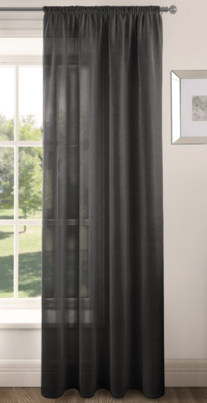 Curtains RIVA PLAIN VOILE PANEL BLACK
