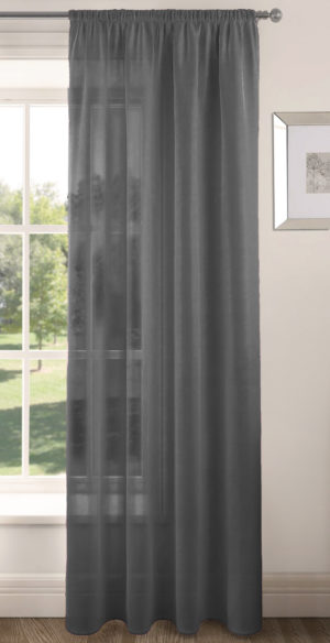 Curtains RIVA PLAIN VOILE PANEL CHARCOAL