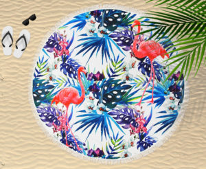 Bathroom CIRCULAR BEACH TOWEL BLANKET FLAMINGO