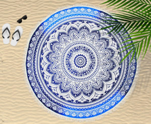 Bathroom CIRCULAR BEACH TOWEL BLANKET BOHEMIAN BLUE