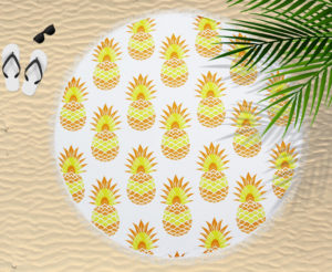 Bathroom CIRCULAR BEACH TOWEL BLANKET PINEAPPLE YELLOW