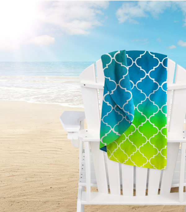 Bathroom MICROFIBRE BEACH TOWEL LATTICE BLUE