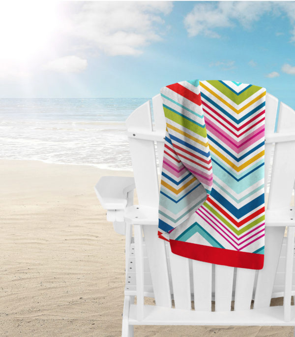 Bathroom MICROFIBRE BEACH TOWEL CHEVRON MULTI