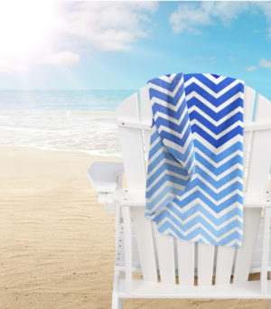 Bathroom MICROFIBRE BEACH TOWEL CHEVRON BLUE