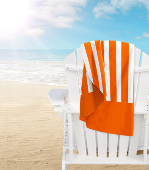 Bathroom MICROFIBRE BEACH TOWEL STRIPES ORANGE
