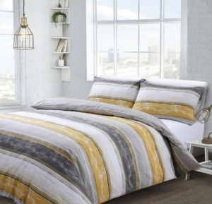 Bedding BROOKLYN STRIPE QUILT COVER SET GREY OCHRE