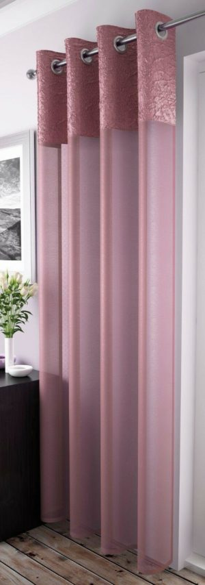 Curtains MADEIRA RING TOP VOILE BLUSH