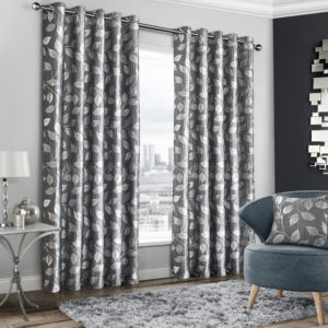 Curtains WINDSOR GREY RING TOP CURTAINS
