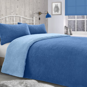 Bedding TEDDY REVERSIBLE FLEECE DUVET SET BLUE