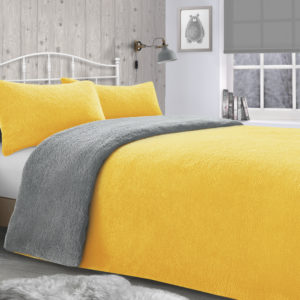 Bedding TEDDY REVERSIBLE FLEECE DUVET SET YELLOW