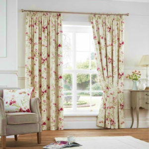 Curtains JEANNIE FLORAL CURTAINS RED