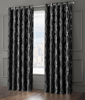 Curtains ONYX RING TOP CURTAINS BLACK