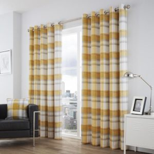 Curtains BALMORAL CHECK RING TOP CURTAINS OCHRE
