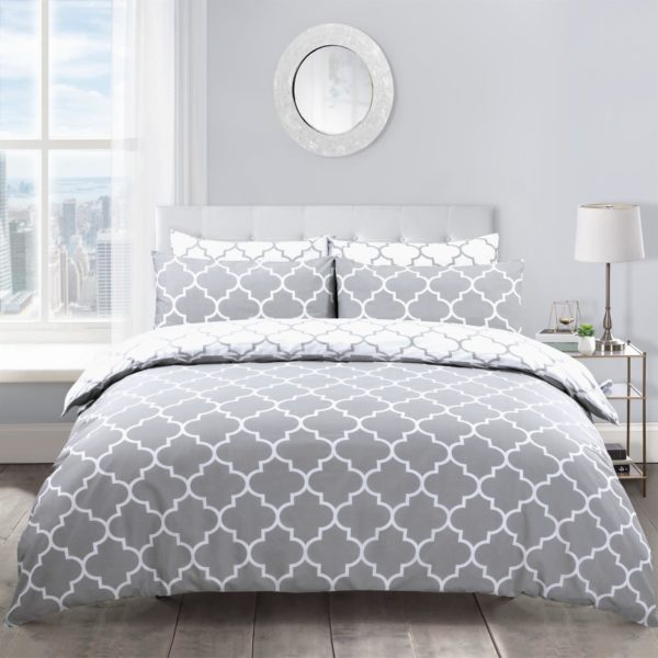 Bedding LATTICE GREY REVERSIBLE QUILT COVER SET