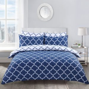 Bedding LATTICE NAVY REVERSIBLE QUILT COVER SET