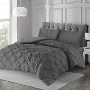 Bedding ANGELICA PINTUCK QUILT COVER SET CHARCOAL