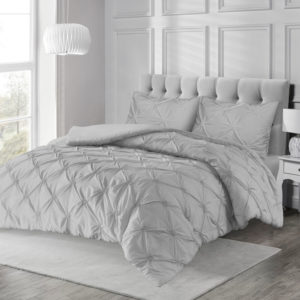 Bedding ANGELICA PINTUCK QUILT COVER SET GREY