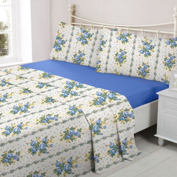 Bedding LUCINDA BLUE FLANNELETTE SHEET SET