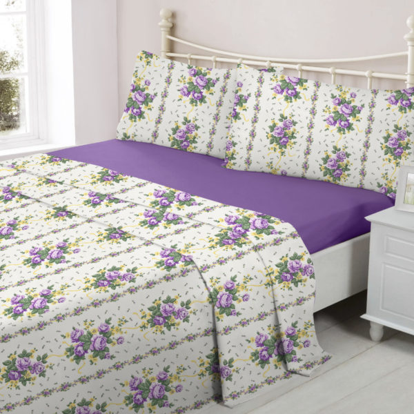 Bedding LUCINDA LILAC FLANNELETTE SHEET SET
