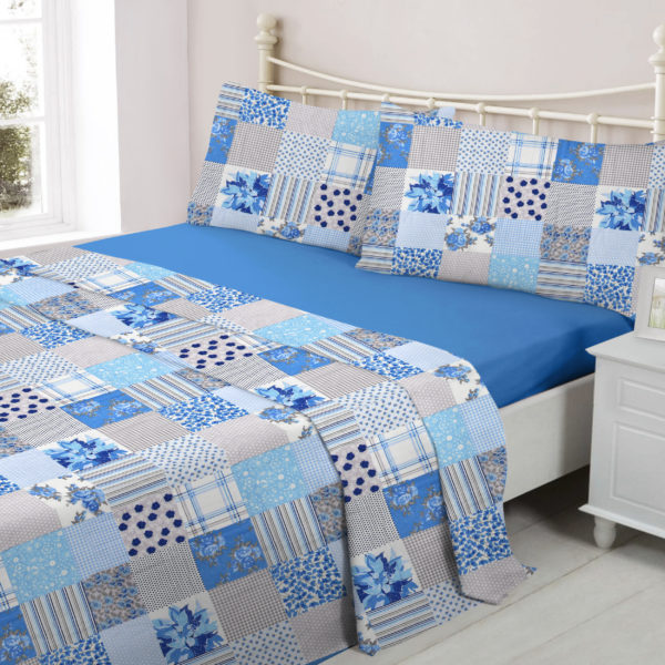 Bedding PATCHWORK BLUE FLANNELETTE SHEET SET