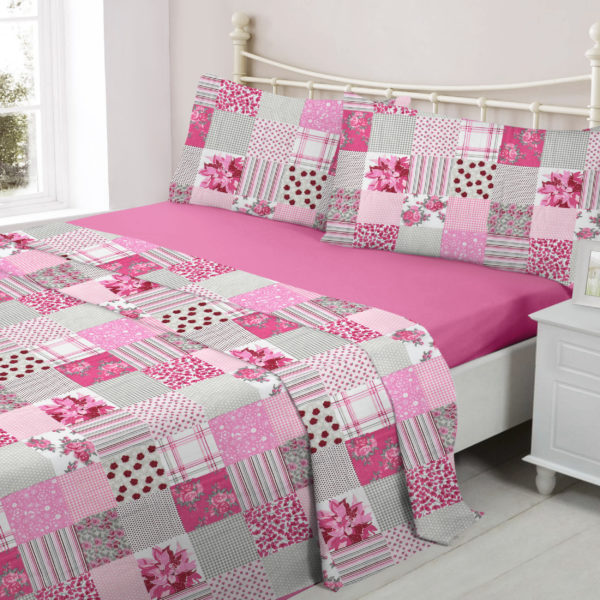 Bedding PATCHWORK PINK FLANNELETTE SHEET SET