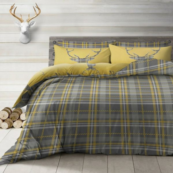 Bedding STAG OCHRE REVERSIBLE QUILT COVER SET